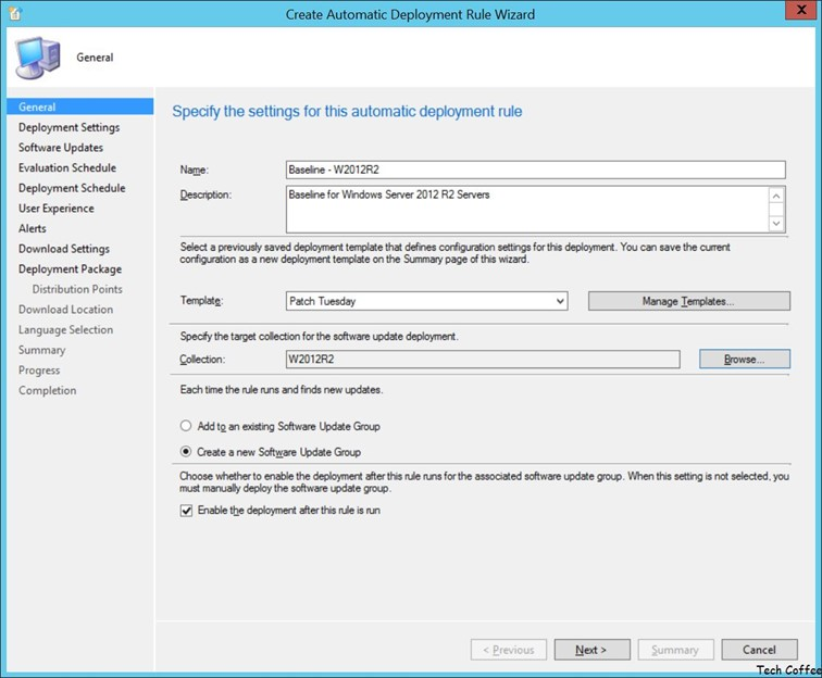 To create automatic deployment rule open sccm console go to software